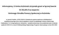 Gmina Koźminek otrzymała grant w łącznej kwocie  53 352,00 zł na wsparcie: Gminnego Ośrodka Pomocy Społecznej