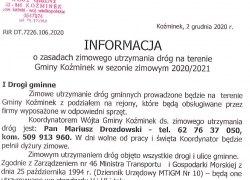 Informacja o zasadach zimowego utrzymania dróg na terenie Gminy Koźminek