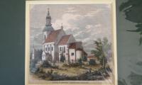 """Grafika """"Kościół Św. Jana Chrzciciela i Św. Jana Ewangelisty w Koźminku"""" w dworku w Koźminku"""